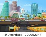 miami downtown city landmarks... | Shutterstock .eps vector #702002344