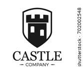 castle logo tower in shield.... | Shutterstock .eps vector #702002548