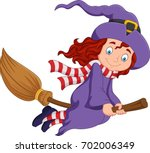 Cartoon Little Witch Flying Us...