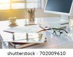 the abstract office desktop | Shutterstock . vector #702009610