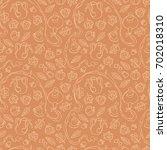 autumn tea. teapot and cups.... | Shutterstock .eps vector #702018310