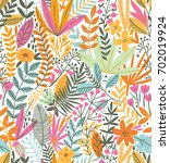 tropical seamless floral... | Shutterstock .eps vector #702019924