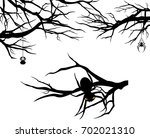 tree branches and spiders  ... | Shutterstock . vector #702021310