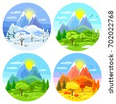 four seasons landscape.... | Shutterstock .eps vector #702022768
