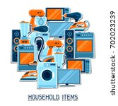 background with home appliances.... | Shutterstock .eps vector #702023239