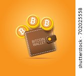 vector brown bitcoin wallet... | Shutterstock .eps vector #702025558