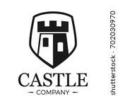 castle logo tower in shield....   Shutterstock .eps vector #702030970