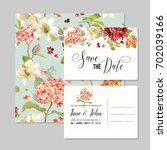 set of save the date cards with ... | Shutterstock .eps vector #702039166