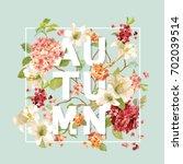 autumn hortensia flowers... | Shutterstock .eps vector #702039514