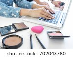 makeup and beauty blog  elegant ... | Shutterstock . vector #702043780