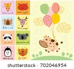 vector  cards with color cute... | Shutterstock .eps vector #702046954