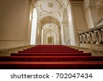 BRATISLAVA, SLOVAKIA - AUGUST 10, 2017: Staircase with a red carpet in the Castle - stock photo