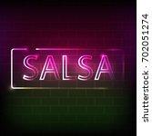 salsa neon sign on the brick... | Shutterstock .eps vector #702051274