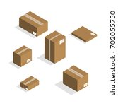 isometric carton packaging box... | Shutterstock .eps vector #702055750