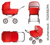 red baby stroller  vector... | Shutterstock .eps vector #702058294