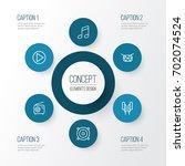 music outline icons set.... | Shutterstock .eps vector #702074524