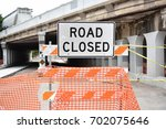 road closed sign | Shutterstock . vector #702075646