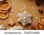 christmas gingerbread and...   Shutterstock . vector #702076300