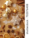 christmas gingerbread and... | Shutterstock . vector #702076408
