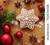 christmas gingerbread and... | Shutterstock . vector #702076438