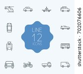 set of 12 shipping outline... | Shutterstock .eps vector #702076606