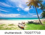 tropical beach with coconut palm | Shutterstock . vector #702077710