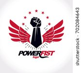 strong fist of a muscular man... | Shutterstock . vector #702084643