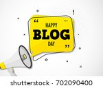holiday blog day. megaphone and ... | Shutterstock .eps vector #702090400