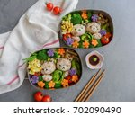 delicious homemade vegetarian... | Shutterstock . vector #702090490