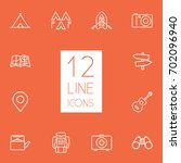 set of 12 picnic outline icons... | Shutterstock .eps vector #702096940