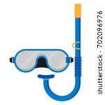 diving mask with snorkel flat... | Shutterstock .eps vector #702096976