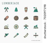 logging and lumberjack with... | Shutterstock .eps vector #702097198