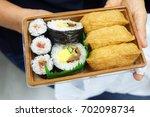 bento sushi set in japanese... | Shutterstock . vector #702098734