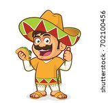Mexican Man Holding A Taco