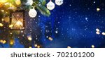 lantern with christmas... | Shutterstock . vector #702101200