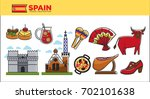 spain travel destination... | Shutterstock .eps vector #702101638