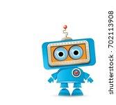 vector funny cartoon blue robot ... | Shutterstock .eps vector #702113908
