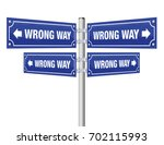 wrong way guidepost showing in... | Shutterstock .eps vector #702115993