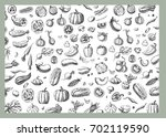 background with vegetables... | Shutterstock .eps vector #702119590