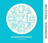 kitchen small appliances... | Shutterstock .eps vector #702121768