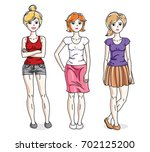 happy young adult girls female... | Shutterstock . vector #702125200