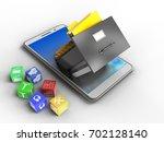 3d illustration of white phone... | Shutterstock . vector #702128140