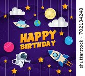 modern paper art style happy... | Shutterstock .eps vector #702134248