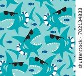 Seamless Shark Pattern Vector...