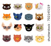 Stock vector heads of cute cat characters with different emotions vector set of cats head enamored and funny 702145219