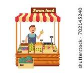 fruit and vegetable market shop ... | Shutterstock .eps vector #702145240