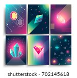 abstract trendy vector cosmic... | Shutterstock .eps vector #702145618
