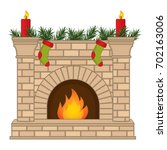 vector fireplace  decorated... | Shutterstock .eps vector #702163006