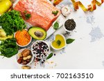 low cholesterol food. healthy... | Shutterstock . vector #702163510