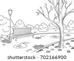 autumn park graphic black white ... | Shutterstock .eps vector #702166900